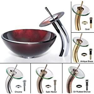 Kraus C-GV-200-14-12mm-10ORB Irruption 14-Inch Red Glass Vessel Sink and Waterfall Faucet, Oil Rubbed Bronze