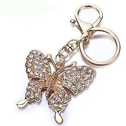 Di Grazia Creative Butterfly Shaped Zinc Plated Rhinestone Alloy Keychain Keyring Holder Pendant