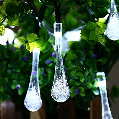 Icicle Solar Outdoor String Lights White, 40 Led 24.6ft, Waterproof, 8 Mode Steady Flash, Water Drop Fairy Lighting for Garden, Patio, Lawn, Gazebo, Fence, Wedding, Holiday, Party Decoration