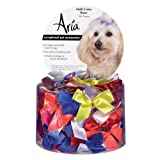 Aria Satin Acetate Ribbon Multicolor Dog Bows Canister, 5/8-Inch, 100-Pack