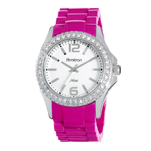 Armitron NOW Women's 753935WTMA Swarovski Crystal Accented Silver-Tone and Pink Watch