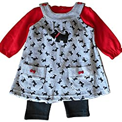 18-24 months - Baby Girls Dress Outfit - Gorgeous Grey Dogs Velour Pinafore Dress with Red Long-sleeved Top & Black Bloomers Set / Babies Clothes from Cutey Pie