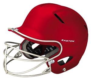 Easton Natural Grip Junior Batting Helmet with Mask, Red
