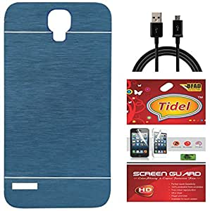 Tidel Durable Aluminium Brushed Metallic Back Cover For Xiaomi Redmi Note Prime (Blue) With Tidel Screen Guard & Data Cable