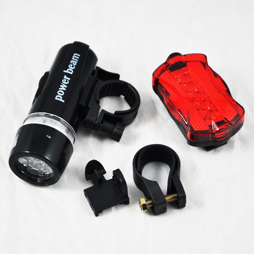 SODIAL(TM) Waterproof 5 LED Bike Bicycle Head + Rear Light 6 Modes for Night Safety