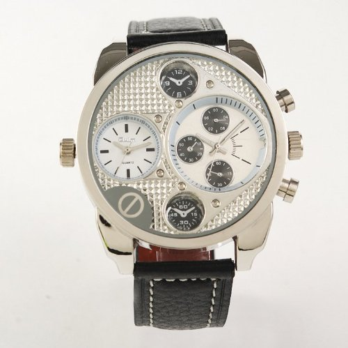 Oulm Two Time Zone Display Quartz Movement Wrist Watch With Five Small Dials For Decoration Purpose Only (White)
