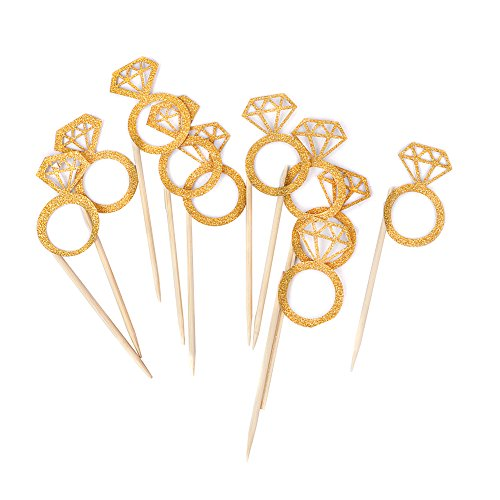 Bidlsbs Wedding Bridal Shower Cupcakes Toppers Glitter Mini Diamond Ring Cupcake Picks Gold Birthday Party Supplies,Set of 10 (Bridal Shower Cupcake Toppers compare prices)