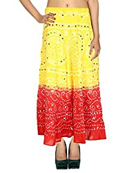Classic Casual Skirt Cotton Yellow Ethnic Tie Dye Womens Skirts By Rajrang