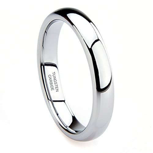 Tungsten-Carbide-4MM-Plain-Dome-Wedding-Band-Ring-Ring-Size-4-12