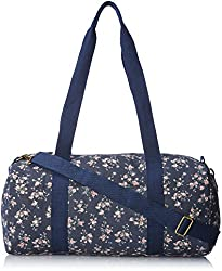 Wild Pair Floral Printed Canvas With Webbed Straps Duffle Handbag, Navy, One Size