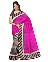 Winza Art Bhagalpuri Silk Party Wear Print Saree For Ladies & Women(special Offer)