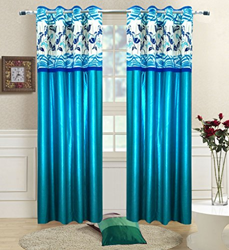 Homefab India Set of 2 Stylish Aqua Blue Curtains(HF464)