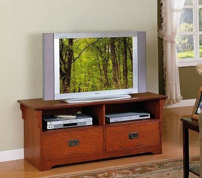 Cheap Mission Style Oak Finish Wood Plasma LCD Flat Panel TV Stand (PONDF4410)
