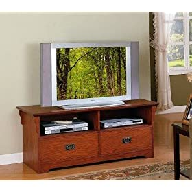Mission Style Oak Finish Wood Plasma LCD Flat Panel TV Stand