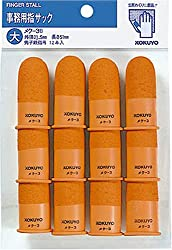 コクヨ 紙めくり用 指サック 大 オレンジ 内径21mm 先端滑り止め加工 12本入り メク-3B
