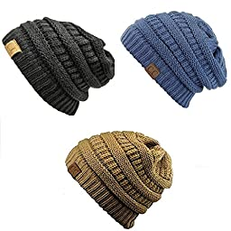 Trendy Warm Chunky Soft Stretch Cable Knit Slouchy Beanie Skully HAT20A (One Size, 3 pack:Black/Denim/Camel)