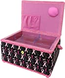 SINGER Breast Cancer Awareness Black Confetti Sewing Basket with Sewing Kit Accessories image