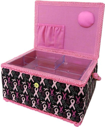 Cheap SINGER Breast Cancer Awareness Black Confetti Sewing Basket with Sewing Kit Accessories