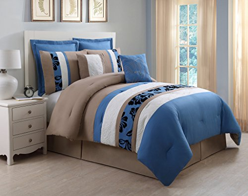 Amazing  Piece Cal King Jolene Blue and Taupe Bed in a Bag w TC Cotton Sheet