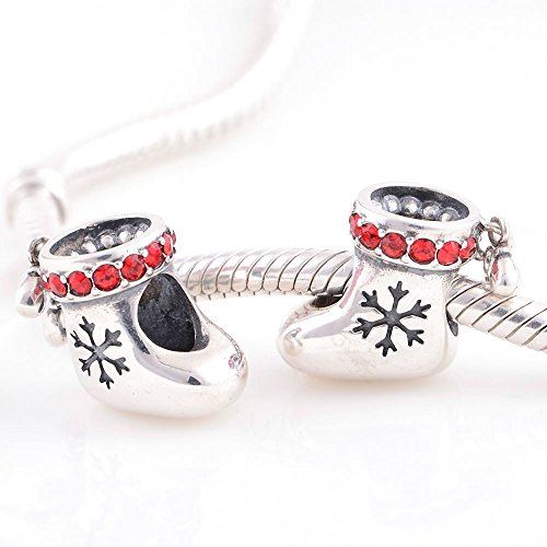 Taotaohas-(1Pc) Oxidized Antique 100% Solid Sterling 925 Silver Charms Beads, [ Name: Christmas Stockings, Color: Light Siam ],With Crystal Rhinestone, Fit European Bracelets Necklaces Chains Glass Beads