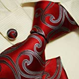 51JM DE%2ByUL. SL160  Red Pattern Mens Dress Ties Swirl Gifts Ideas Discount Silk Neck Ties Cufflinks Set H5088 148*9CM Red