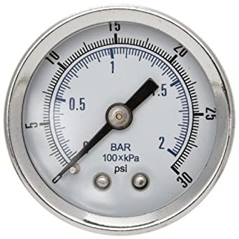 "Parker K4515N18030 Gauge for 14R, P3AR, 15R and 14E Series Filter/Regulator, 30 psig, 1/8"" NPT (0 to 2.1 bar)"