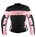 Xelement Womens Black and Pink Tri-Tex Fabric Motorcycle Jacket with Level-3 Ad – Medium by NYC Leather Factory Outlet