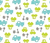 CARS & TRUCKS FLANNEL PRINT ~ 100% COTTON FABRIC (1 YARD) GREEN Turquoise GRAY WHITE