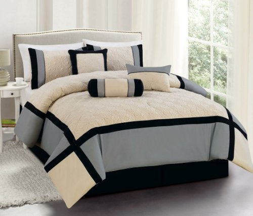 Black Queen Bed Set 7697 back