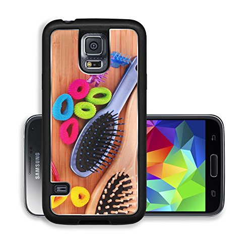 Liili Premium Samsung Galaxy S5 Aluminum Backplate Bumper Snap Case IMAGE ID: 9683929 Hair Brush and hair scrunchies on brown background (Hair Brush Case For Galaxy S5 compare prices)