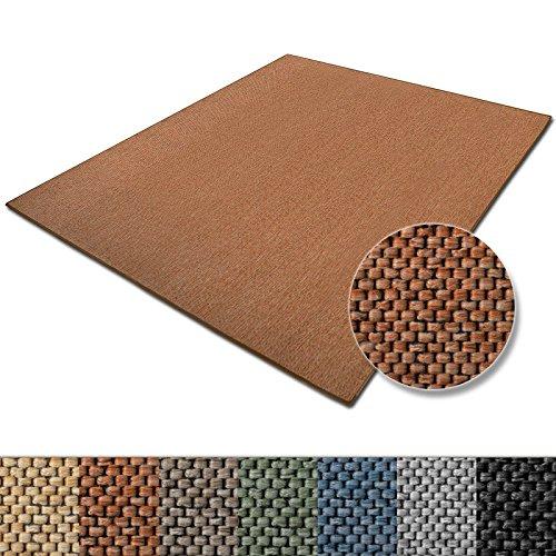 Teppich-Sabang-viele-Farben-und-Gren-Flachgewebe-Sisaloptik-Qualittsprodukt-aus-Deutschland-GUT-Siegel-fr-Wohnzimmer-Kinderzimmer-Flur-etc-terra-66x130cm