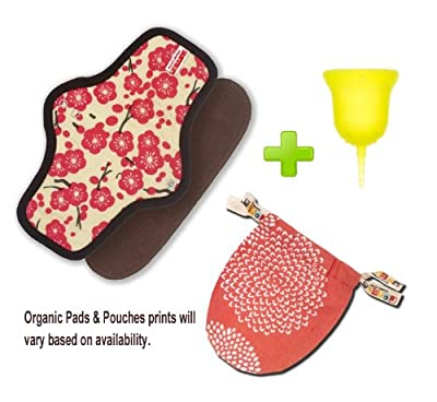 SckoonCup Menstrual Cup and Organic Pad SETMade in the USA FDA approved - Sunrise