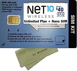 Net 10 Wireless Nano SIM Card with $40 Plan. Net Ten Nano Cut 4G LTE SIM Unlimited Talk/Text/Data SIM Prefunded Preloaded Activation Kit for At&t and GSM Unlocked Phones($40 Monthly Plan)