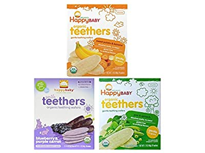 Happy Baby Organic Teethers Gentle Teething Wafers 3 Flavor Sampler Bundle: (1) Pea & Spinach Teething Wafers, (1) Sweet Potato & Banana Wafers, and (1) Blueberry & Purple Carrot Wafers, 1.7 Oz. Ea. from Happy Family Brands