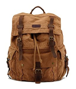 Kattee Vintage Canvas Leather Hiking Travel Backpack Rucksack School Bag
