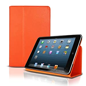 iPad Mini Smart cover Folio Snap Case By Photive with Built in Stand & Fully Functional Sleep & Wake Feature, Orange
