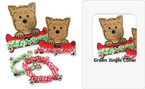 Mud Pie Christmas Santa Paws Pet Jingle Dog Collar (Small/Green), 20123 front-541455
