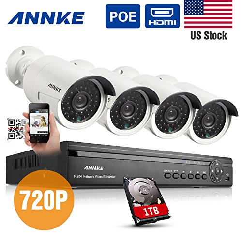Cheap Annke® 4CH 720P HD POE NVR Security Camera System with 4 Weatherproof 720P Indoor/Outdoor 100...