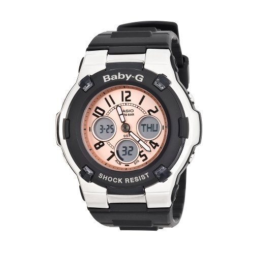 Casio Women's BGA110-1B Baby-G Shock Resistant Black and Silver-Tone Analog Sport Watch