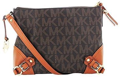 Michael kors fallon women s logo messenger crossbody handbag brown