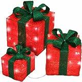 3er Set Geschenkboxen Weihnachten Deko beleuchtet