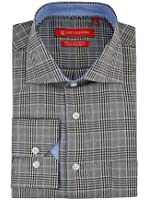 Gino Valentino Mens Check Dress Shirt in GiftBox Cotton Barrel Cuff Black White