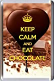 KEEP CALM and EAT CHOCOLATE Fridge Magnet printed on an image of heart shaped rich dark chocolate being poured on even more chocolate! From our Keep Calm and Carry On series - an original Gift Idea for a chocoholic!