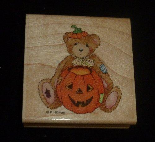 Halloween Teddy Bear With Pumpkin Rubber Stamp
