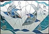 [ステンド グラス 700x1000mm]ステンドガラス雑貨★窓やドア、壁に装飾材料♪美しいステンドグラス【海豚】sgm701