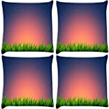 Snoogg Night At Garden Pack Of 4 Digitally Printed Cushion Cover Pillows 16 X 16 Inch