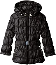 Kate Mack Little Girls39 Puffer Coat with Belt and Rhinestones