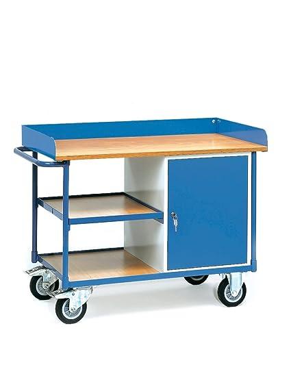 Fetra carro de taller con encimera 400kg, superficie de carga 1120x 650mm, con borde, 1armario y 3ladeflächen
