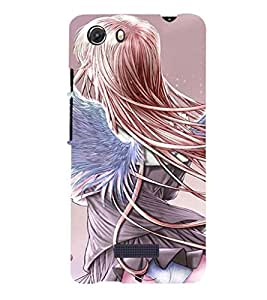 Printvisa Rear View Of A Girl With Wings Back Case Cover for MIcromax Canvas Unite 3 Q372