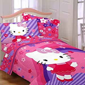 Amazon Hello Kitty Raining Flowers 4pc Twin Bedding